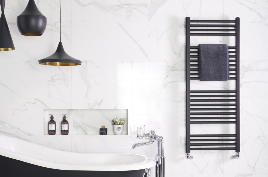 Towel rail shown in Matt Black