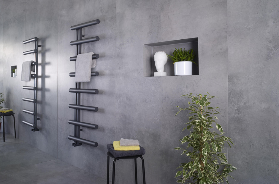 Towel warmer shown in Volcanic finish, this finish is unsuitable for wet rooms
