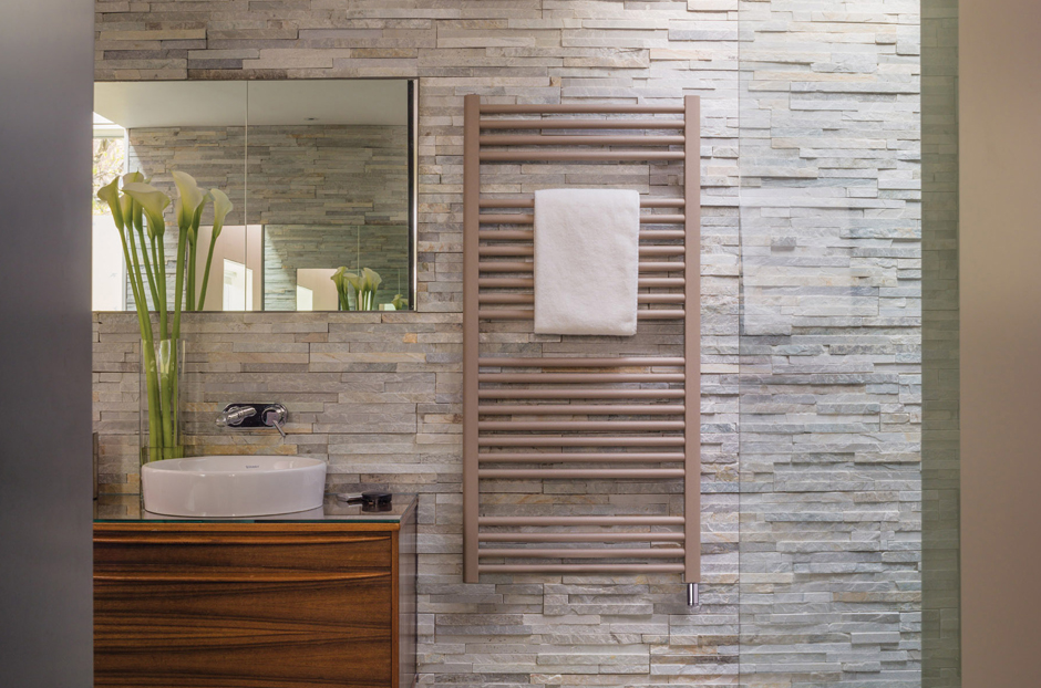 Radiator shown in Beige Quartz finish with electric heater cable cover