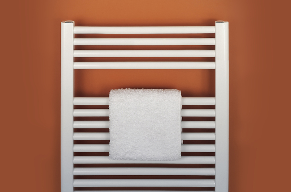 Towel rail shown in White RAL 9016