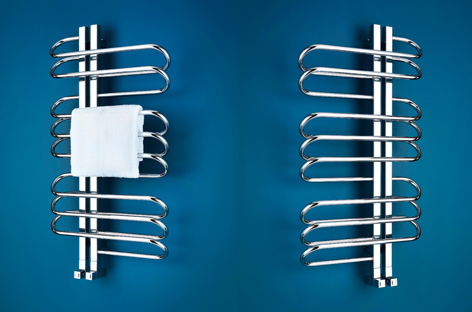 Radiators shown in Stainless Steel mirror finish