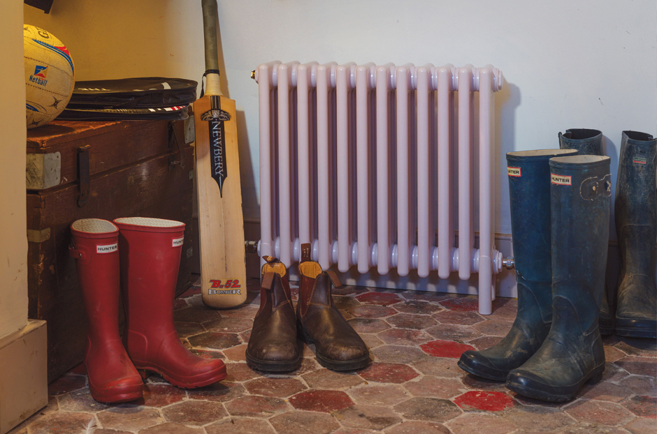 Radiator shown is central heating version in Mauve