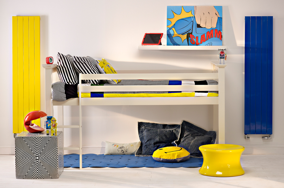 Radiators shown in Sun Yellow and Traffic Blue