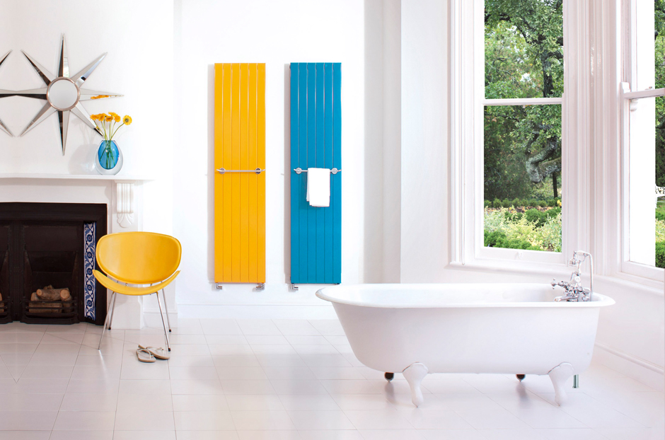 Radiators shown in Sun Yellow and Steel Blue