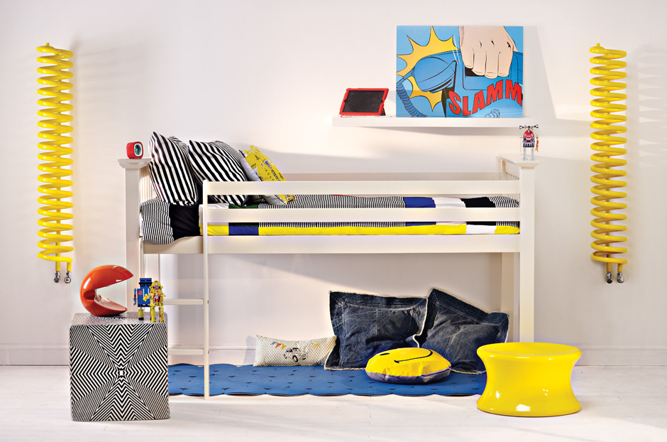 Radiators shown are central heating versions in Traffic Yellow RAL 1023