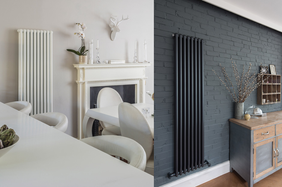 Radiators shown in White RAL 9010 and Volcanic finish